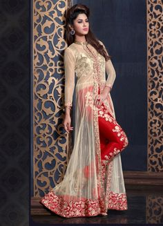 Attract compliments by this cream and red banarasi silk and net designer salwar kameez. This beautiful attire is displaying some remarkable embroidery done with embroidered, patch border and zari work. Pakistani Bridal Dresses, Pakistani Outfits, Indian Dresses, Indian Outfits, Sleeves Designs For Dresses, Indian Party Wear, Sari, Party Wear Dresses, Kurta Designs