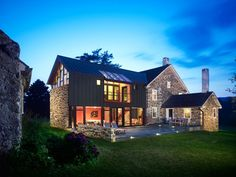 18th Century Farmhouse Addition by Wyant Architecture | A sensitive renovation of the existing farmhouse was undertaken to accommodate home offices and bedrooms for children, while the 21st century notions of family room and master suite were housed in a new two-story addition. |