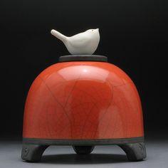 Poppy Red Ceramic Jar with Hand Sculpted Bird on lid, raku fired,Pet urn, pottery jar with lid, handmade $98.00