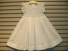New boutique design hand embroidered smocked Dress - Size  2  3  4  White Smocking Baby, Smocked Baby Dresses, Kids Frocks, Boutique Design, Heirloom Sewing, Dressy Dresses, Smock Dress, Little Girl Dresses, Sewing For Kids
