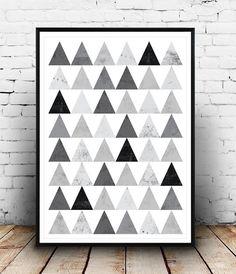 Geometric art print Wall decor Triangle pattern by Wallzilla Geometric Wall Art, Abstract Wall Art, Art Pariétal, Mid Century Modern Art, Black And White Abstract, Triangle Pattern, Modern Prints, Texture Art, Abstract Pattern