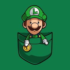 Pocket Luigi Super Mario T-shirt Graphic Hoodie by Purrdemonium - Unisex Pullover Black - MEDIUM - Front Print - Pullover Super Mario Kunst, Super Mario Art, Mario Und Luigi, Mario Bros, Cartoon Wallpaper, Gaming Wallpapers, Cute Wallpapers, Geeks, Idee Baby Shower