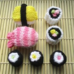 """Free Sushi Knitting Pattern by Amanda Berry! """"A sushi platter feast! For a quick stash busting project, this free pattern includes sushi rolls and nigiri."""" Free Pattern More Patterns Like This! Knitting For Kids, Free Knitting, Knitting Projects, Crochet Projects, Knitting Ideas, Crochet Leaves, Knitted Flowers, Sweater Knitting Patterns, Crochet Patterns"""
