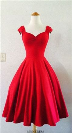 Vintage 1950s Tea Length Short Red Party Prom Dresses Cocktail Bridesmaid Dress #beautydresses