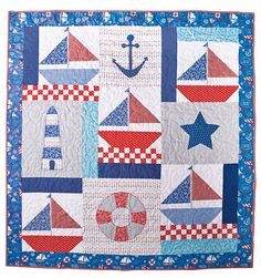 Additional Images of Mainsail Set Quilt Kit by Mari Martin… Quilt Baby, Sailboat Baby Quilt, Nautical Baby Quilt, Ocean Quilt, Beach Quilt, Lap Quilts, Mini Quilts, Quilting Projects, Quilting Designs