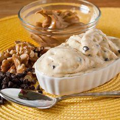 "Chunky Monkey ""Ice Cream"": Frozen bananas, pb, chocolate chips, honey & walnuts. Delicious!"