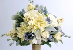 """The """"Lovely"""" Bouquet - Silk flower bridal bouquet in soft pastels; blue-grey, cream, ivory, and light sage green with navy, flowers include dahlias, English roses (David Austin style), delphinium, hydrangea, thistle, skimmia, and dusty miller wrapped with burlap. #springwedding #summerwedding #beachwedding #PosiesPearls"""