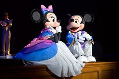 Mickey & Minnie enjoying a moment during a show at Tokyo Disneyland