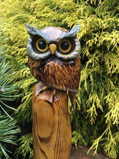 Chainsaw Carved Horned Owl SASSAFRAS WOOD Carving Log Carved Statue Home Decor   Art, Art Sculptures   eBay!