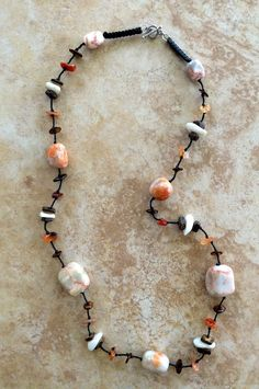 Marbled Stones Necklace Stone Necklace with White by FrancaandNen