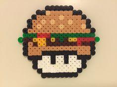 perler bead mushroom Burger - by Bjrnbr perler,hama,square pegboard,video games,nintendo, super mario bros,mushroom,