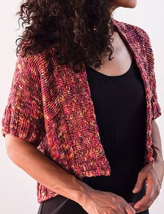 Knitting Pattern for Quick Sibilla Cardigan - Flattering cropped cardigan with short sleeves made with a simple, modular construction. Quick knit in super bulky yarn. Great with multi-color yarn! XS (S, M, L, XL, 2XL, 3XL). Designed by Amy Christoffers