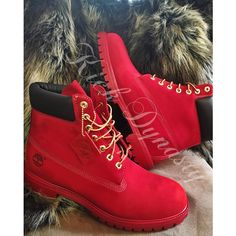 All Red Custom Dyed Timberland Boots Suede ($223) ❤ liked on Polyvore featuring shoes, suede leather shoes, timberland footwear, red suede shoes, timberland shoes and red shoes