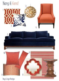 Coral Decor | navy blue velvet sofa. Great colour combo!  Have to be really careful with the coral.  Want to make it more on the orange side than the pink side.