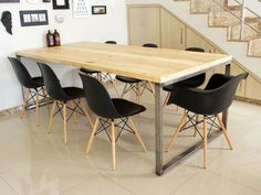 A nova mesa com pegada industrial – Do Edu - Keramik Projekte Grey Desk Chair, Diy Esstisch, Modern Industrial Decor, Diy Dining Table, Dining Chairs, Hygge Home, Coffee Table Design, Office Interior Design, Chair Design
