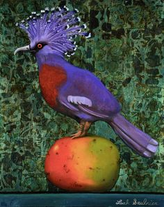 1-victoria-crowned-pigeon-on-a-mango-leah-saulnier-the-painting-maniac.jpg (710×900)