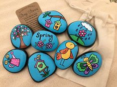 Spring Story Stones Spring Story Starters Springtime - Spring Story Stones Spring Story Starters Springtime Painted Rocks Story Rocks Flowers Of Spring Birds And Birdhouses Story Stones Beautiful Unique Rock Painting Ideas Lets Make You Rock Painting Designs, Paint Designs, Deco Ethnic Chic, Painted Rocks, Hand Painted, Painted Birds, Story Stones, Rock Crafts, Learn To Paint