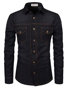 TheLees Slim Chest Two Pocket Vintage Washing Denim Long Sleeve Stretchy Shirts African Clothing For Men, African Men Fashion, Mens Clothing Styles, Formal Shirts For Men, Casual Shirts, Denim Shirts, Terno Casual, Best Smart Casual Outfits, Bespoke Shirts