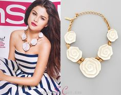 Our girl Selena Gomez sported yet another runway look on InStyle Magazines second June 2013 cover. She wore an Oscar de la Renta Resin Flower Necklace in Ivory. You can purchase this necklace from NeimanMarcus.com for $595.00. Buy it HERE Shes also wearing an Oscar de la Renta dress.