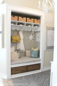 Entryway Closet Mudroom makeover after-thehouseofs.... This posts shows some great before and after pictures, taking a small (fairly average hall coat closet) to an inviting space for welcoming you home and sending you off. Note: The cubby on the top has baskets for shoes, and wire baskets for mail! I love this too!