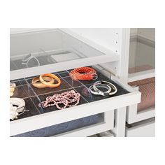 KOMPLEMENT Pull-out tray with divider, white, clear white/clear 39 3/8x22 7/8