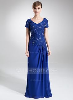 A-Line/Princess V-neck Sweep Train Beading Sequins Zipper Up Sleeves Short Sleeves No Royal Blue Spring Fall General Plus Chiffon Lace Mother of the Bride Dress