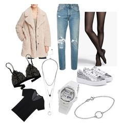 """""""silver sneakers winter outfit"""" by nemethkam on Polyvore featuring Puma, Express, Levi's, Madewell, Casio, ootd, teddycoat and teddybearcpt"""