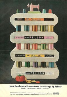 What a cute vintage Pellon sewing thread display.
