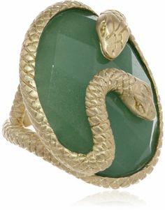 Green Aventurine Serpent Oval Ring  $34.00