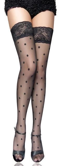 2016 New Black Dot Lace Silk Stockings Girl New Women Silk Stockings Pantyhose Sexy Slim Tights