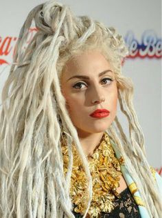 Lady Gaga with platinum blonde dreadlocks dreds