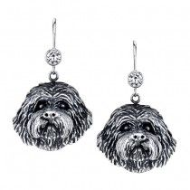 COCKAPOO EARRINGS ER-84  | These earrings are available in all breeds! | Retail Price: $99.95 | 925 Sterling Silver | Each earring has a small bezel set CZ on top of the dog bead. Please note that these earrings can be special ordered in 10k, 14k or 18k gold. Hand-crafted in the USA, Available at ANDREW GALLAGHER JEWELERS, Newark, DE 302-368-3380. We Ship!