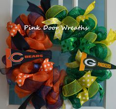 Made to Order - Wreath Chicago BEARS Green Bay PACKERS House Divided NFL football ribbons sports any team
