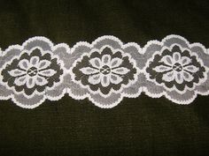 JADE//TEAL~3 Inch Wide Floral Flat Lace Trim~By 5 Yards
