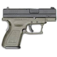 "Springfield Armory XD Sub Compact Semi Automatic Handgun 9mm 3"" Barrel 10 Rounds OD Green Polymer Frame Black Melonite Slide"