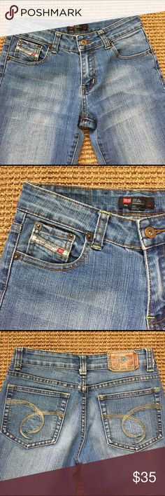 """DIESEL INDUSTRY: ACID WASH BOOTCUT JEANS. SIZE 27 Diesel Industry: Beautiful 100% cotton acid wash bootcut jeans. Gold embroidered back pockets, logo ribbon label on 1 front pocket. Inseam 29"""", waist 27. Wonderful condition like new. Diesel Jeans Boot Cut"""