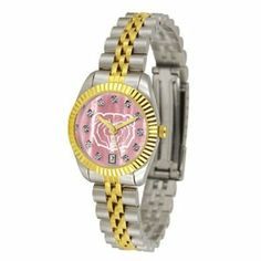 Missouri State University Bears Executive Ladies Watch with Mother of Pearl Dial by SunTime. $179.54. Stainless Steel Case. 23kt Gold Plate Bezel. Safety Clasp. Two-Tone Solid Stainless Steel Band. Calendar Date Function. The ultimate Missouri State University Bears fan's statement, our Executive timepiece offers men and women a classic, business-appropriate look. Features a 23KT gold-plated bezel, stainless steel case and date function. Secures to your wrist with a two-tone soli...