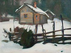 Talvitorppa, Winter Hut by Santeri Salokivi, 1910 Helene Schjerfbeck, Chur, Landscape Art, Landscape Paintings, Oil Paintings, North Europe, Nordic Art, Modern Artists, Artist Painting
