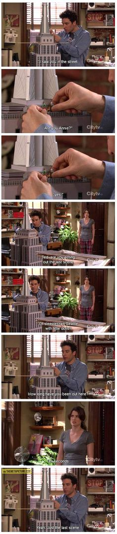 When you're an architect with a scale model of a skyscraper who wouldn't automatically think to reenact one of the most famous chick flicks of all time. Sleepless in Seattle à la Ted Mosby #HIMYM