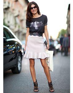 Rocker tee- feminine skirt