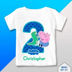 T Shirt Personalized George Pig dinosaur Birthday Party 2 Birthday, Dinosaur Birthday Party, Boy Birthday Parties, Birthday Shirts, Birthday Ideas, Cumple George Pig, Fiestas Peppa Pig, George Pig Party, T Shirts