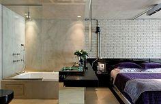 Loft industrial: dormitorio con baño integrado