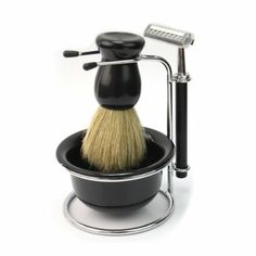 4 In 1 Men Soap Dish Stand Bowl Shaving Razor Beard Brush Shaver Kit Set New $13.47