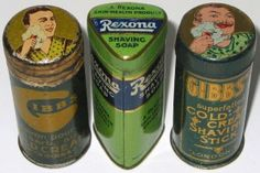 vintage shaving stick tins c1930 Vintage Groom, Vintage Tins, Metal Tins, Metal Box, Shaving Stick, Old Medicine Cabinets, Tin Containers, Safety Razor, Tin Cans