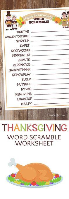 Thanksgiving Worksheet: Word Scramble!