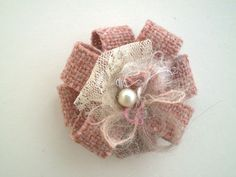 tweed, silk, pearl and lace rosette - cute!