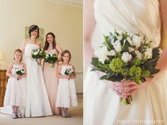 The green and white colours of the bouquets worked beautifully with the very pale blush and peach tones of the bridesmaids dresses. www.2tonephotography.co.uk