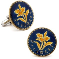 Hand Painted Taiwanese Five Chiao Coin Cufflinks