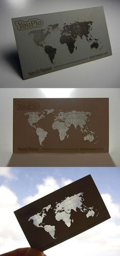 Intricate Laser Cut See Through Map Business Card Design