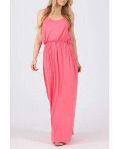 Bubble Top Coral Pink Maxi Dress